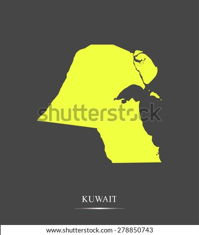 Kuwait map outlines in highlighted grey background, vector map of Kuwait in highly contrasted design for brochure template, tourist map, advertisement, web page design, science and education uses - stock vector