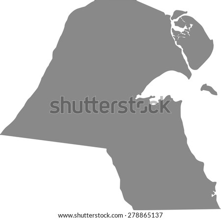 Kuwait map outlines, vector map of Kuwait in grey color background - stock vector