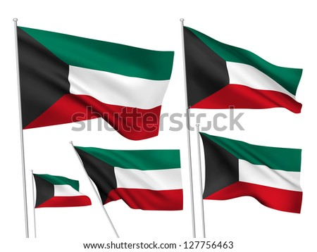 Kuwait vector flags. A set of 5 wavy 3D flags created using gradient meshes - stock vector