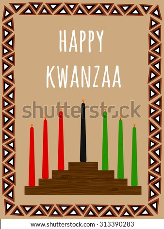 Kwanzaa postcard with a seven candles candlestick, African ornate frame and text Happy Kwanzaa - stock vector
