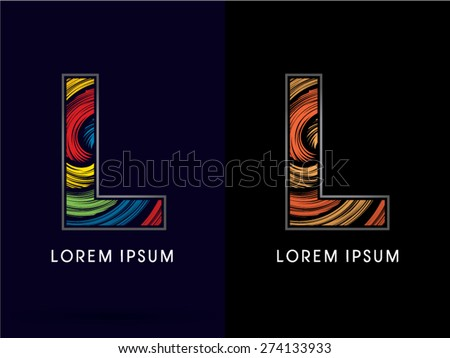 L ,Abstract , font, concept Spin,designed using colors and gold silver bronze grunge brush,sign ,logo, symbol, icon, graphic, vector.. - stock vector