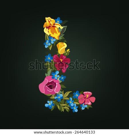 L letter. Flower capital alphabet. Colorful font. Uppercase.  Vector illustration. - stock vector