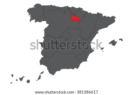 La Rioja red map on gray Spain map vector - stock vector