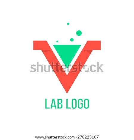 lab emblem like red v letter. concept of geometry, origami, curve typographic, triumph, win mark, inovation, angular vector, visual identity. flat style trendy modern brand design eps10 illustration - stock vector