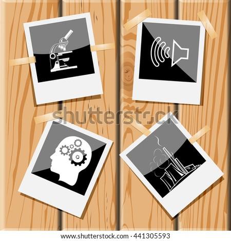 lab microscope, loudspeaker, human brain, thermal power engineering. Tehnology set. Photo frames on wooden desk. Vector icons. - stock vector