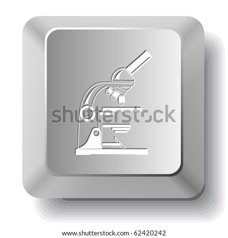 Lab microscope. Vector computer key. - stock vector