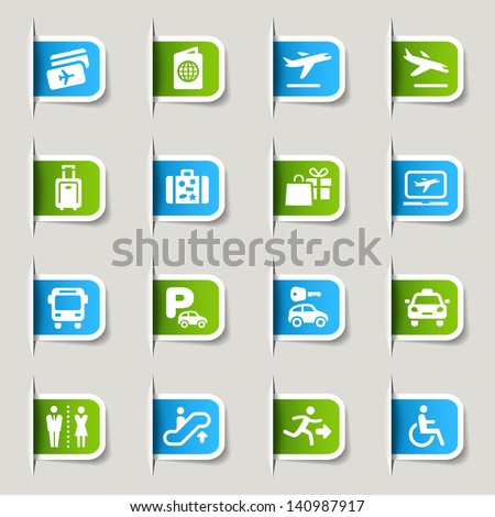Label - Airport and Travel icons - stock vector