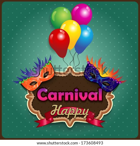 Label carnival masks  ideal for parties with space to insert your own text -transparency blending effects and gradient mesh-EPS10 - stock vector