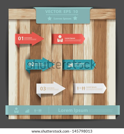 Label design template on wooden sign, Vector illustration workflow layout, diagram, number options, step up options, web template, info graphics - stock vector