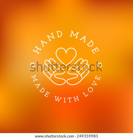 Label design template with hands and heart for handmade products in outline trendy style. Vector illustration. - stock vector