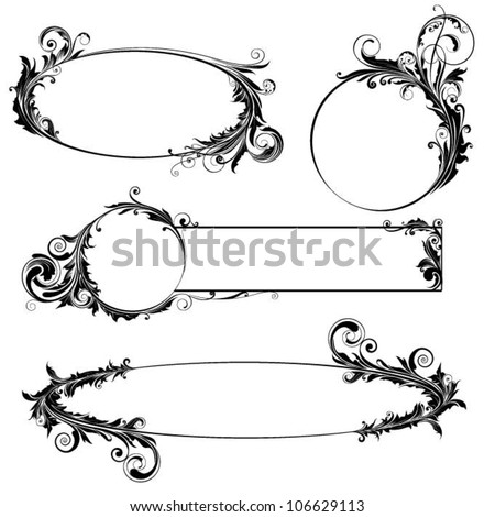 Label floral design - stock vector