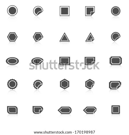 Label icons with reflect on white background, stock vector - stock vector
