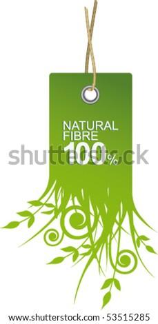 Label natural fiber - stock vector