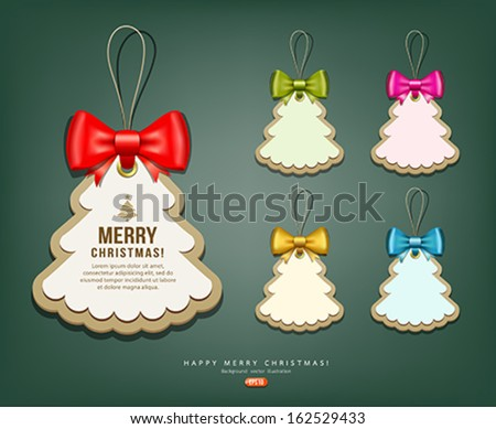 Label paper and colorful ribbons Merry Christmas background collections, vector illustration - stock vector