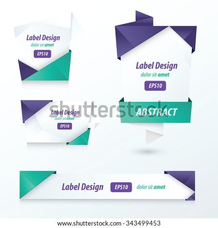 Label, Ribbon Origami, 2 color  - stock vector