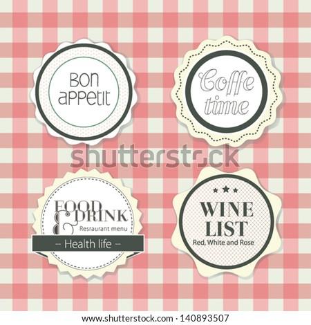 Label set for cafe and restaurant menu design. Vector illustration - stock vector
