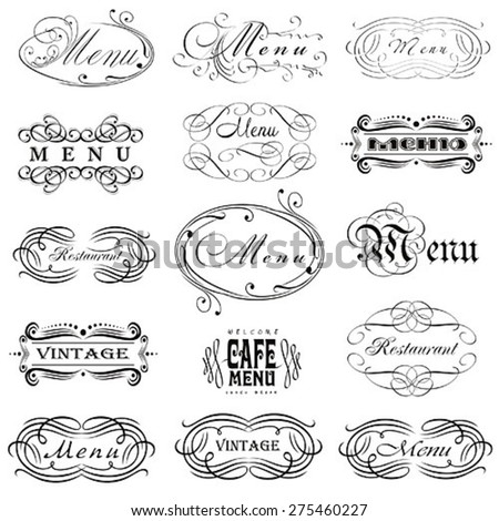 Label set for restaurant menu design - stock vector