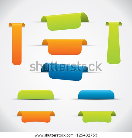 Label set in different color and design variations with shadows - stock vector