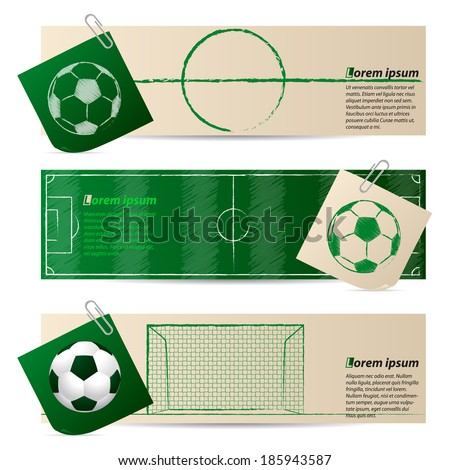 Label set of three with soccer and football elements - stock vector