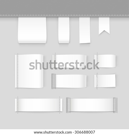 Label Tag Stitch Set White Vector Isolated - stock vector