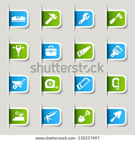 Label - Tools and Construction icons - stock vector
