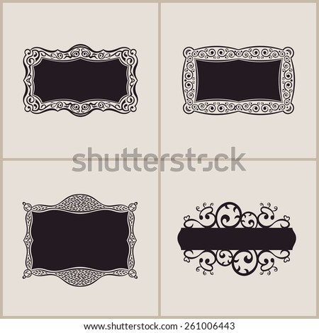 Label vector art frames elegant border set. Floral banner design ornament - stock vector