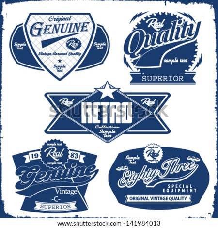 label vector set.genuine label vector collection - stock vector