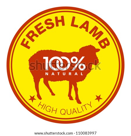 Label with a sheep silhouette - stock vector
