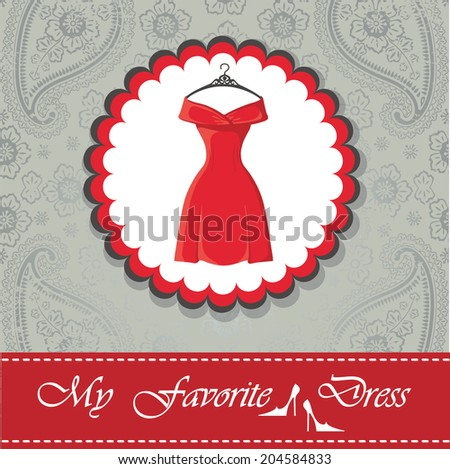 "Label with classic little red dress with hanger .The message ""Little black dress"" .Label and pink ribbon on paisley background.Fashion illustration in vector. - stock vector"