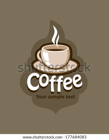Label with coffee cup, vector illustration - stock vector
