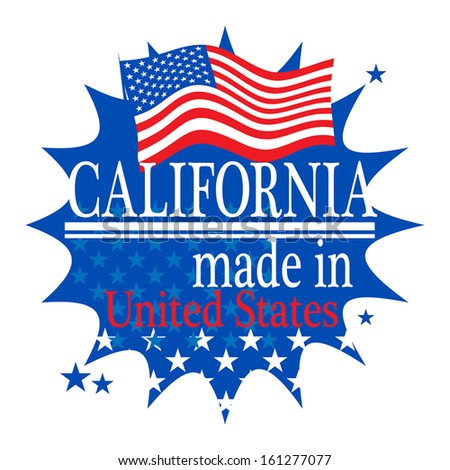 Label with flag and text Made in California, vector illustration - stock vector
