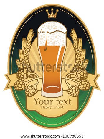 label with glass of beer - stock vector