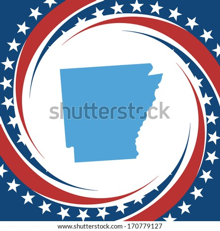 Label with map of Arkansas, vector - stock vector