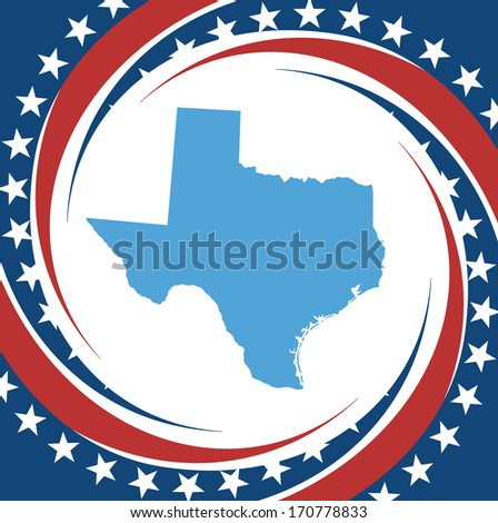 Label with map of Texas, vector - stock vector