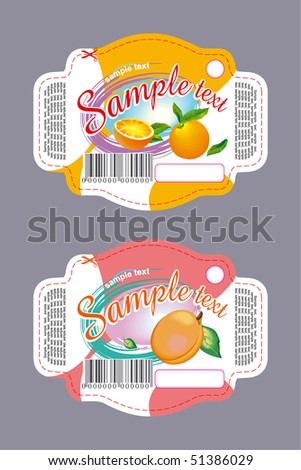 Label with orange and apricot - stock vector