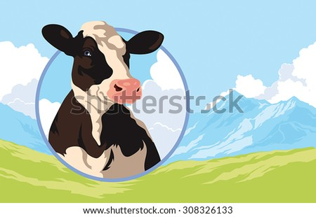 Label with the image of a cow on a background of nature - stock vector