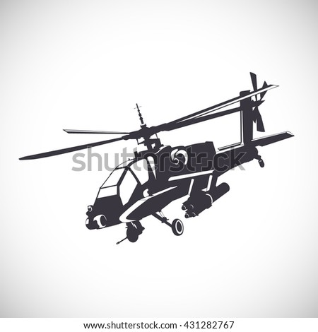 Label with the image of the helicopter  - stock vector