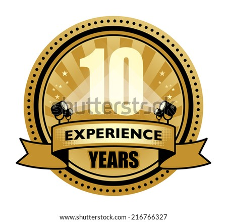 Label with the text 10 Years Experience written inside, vector illustration - stock vector