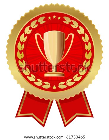 label with trophy cup - stock vector