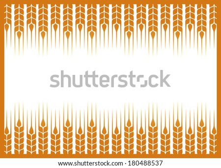 label with wheat ears silhouette on white background - stock vector