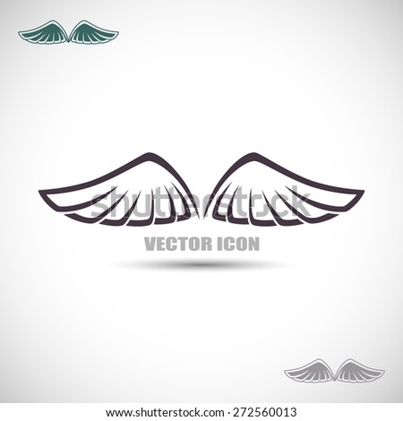 Label with wings - stock vector