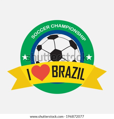 label with words, I love brazil. soccer championship - stock vector