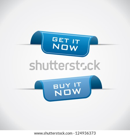 Labels - buy it and get it now blue vector - stock vector