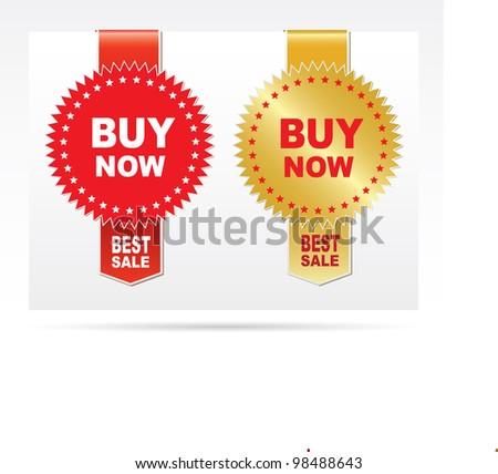 Labels - Buy now. Vector - stock vector