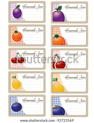 labels for homemade jam or can - stock vector