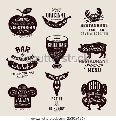 Labels for restaurant and cafe  - stock vector