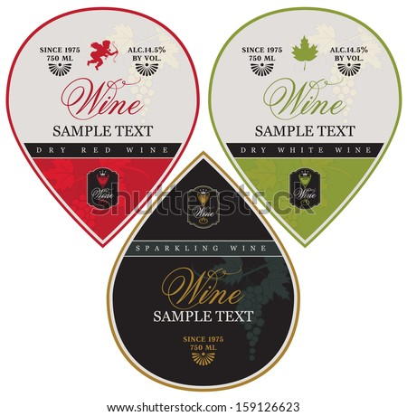 White Wine Labels with Grapes