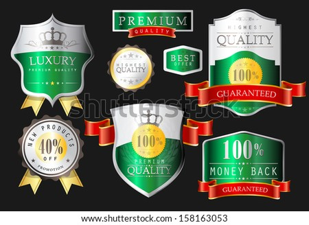 Labels - Highest quality, premium quality, luxury, new products, promotion, discount, bestseller, best offer, - stock vector