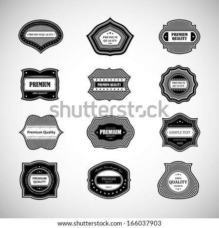 Labels In Retro Style Isolated On Gray Background. Vector Illustration, Graphic Design Editable For Design - stock vector