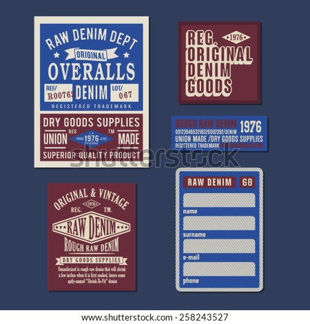 Labels of denim typography, t-shirt graphics, vectors - stock vector